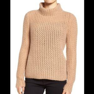 Halogen 100% Cashmere stitch detail women sweater
